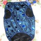 NWT stretch blue sequin hearts metallic lame dog clothes shirt costume dress size large