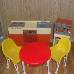 Vintage Orange and Brown Kitchen Set for Barbie