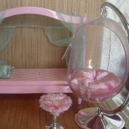 Pink Canopy Barbie Bed & Hanging Egg Chair