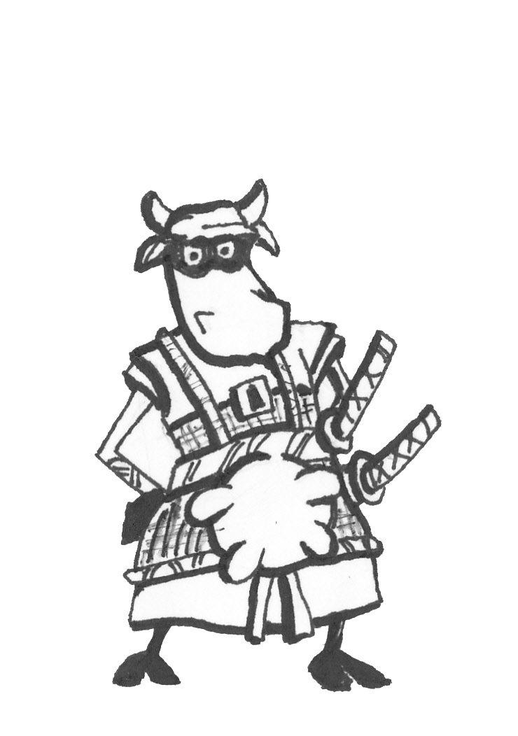 Samurai Cow Postcards - Set of 3