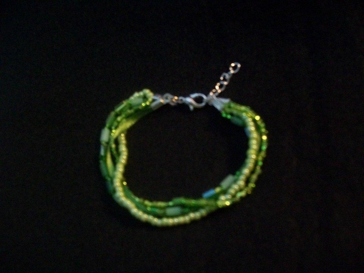 Beaded Ribbon Bracelet-Green