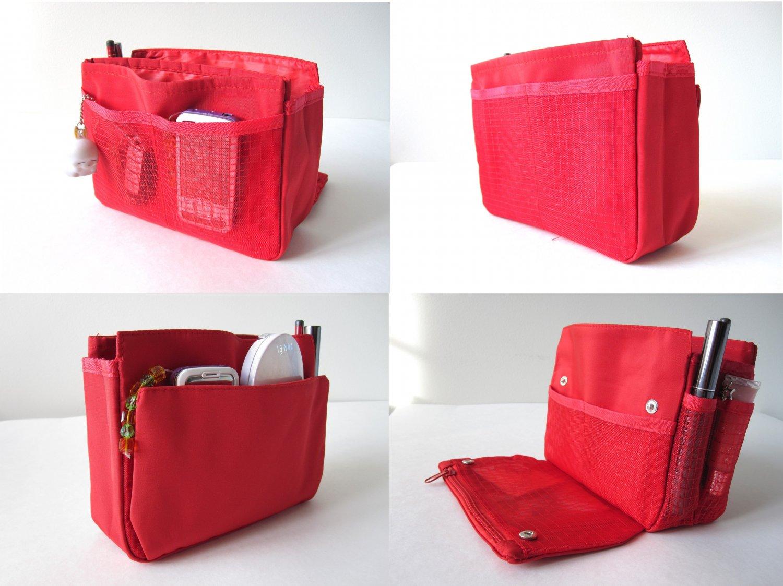 Cute Handbag Bag Purse Organizer Insert (Red)