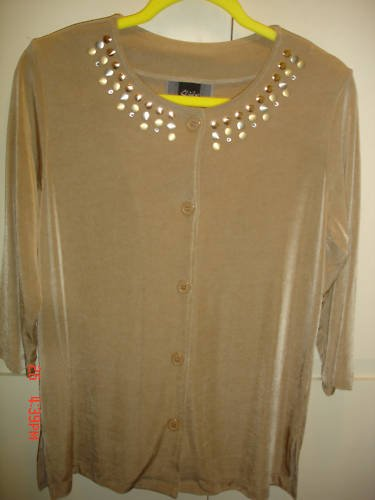 SLINKY BRAND Tan Cardigan w/ studs, S, NWT,REDUCED!