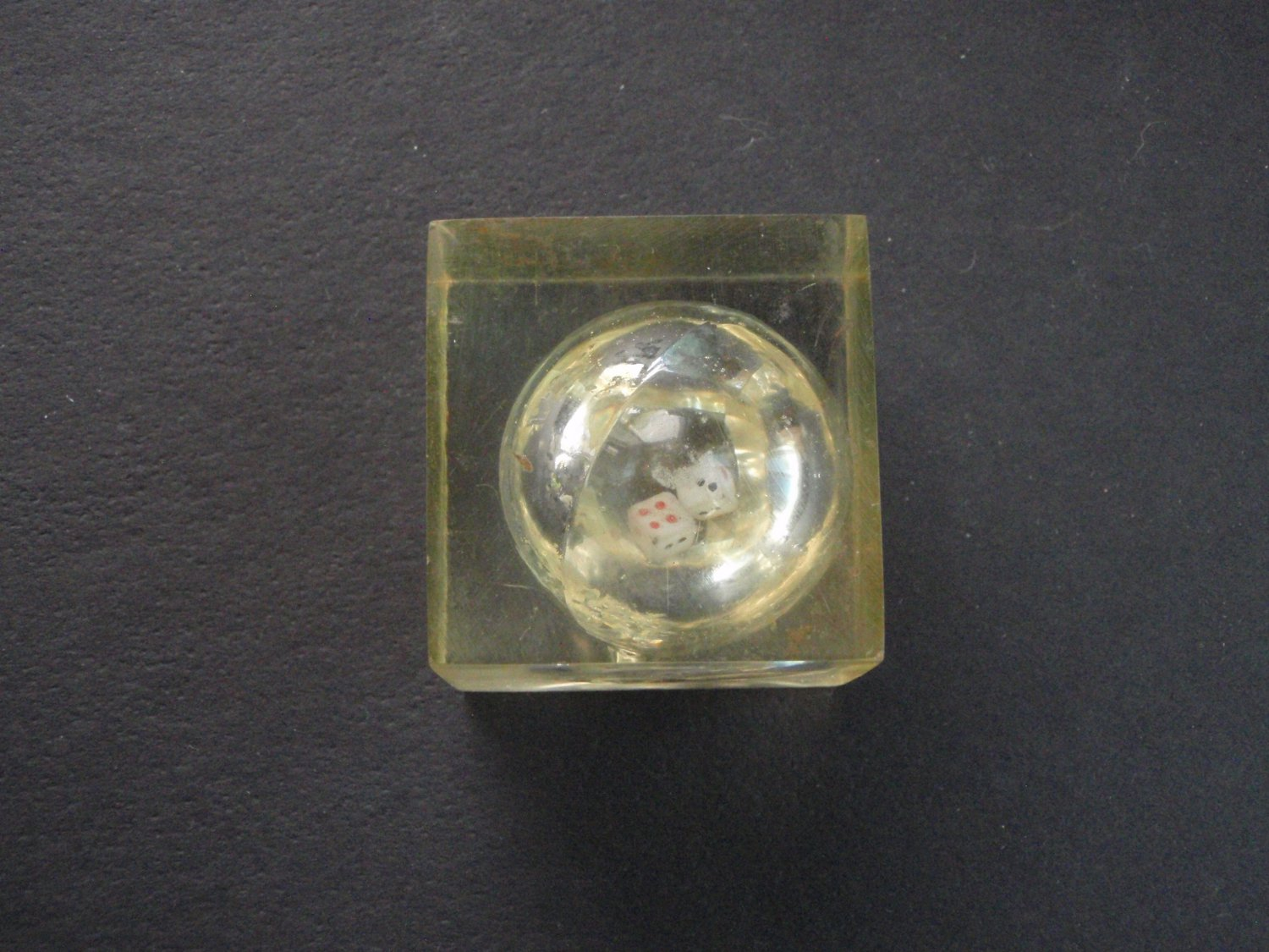 Vintage Miniture Dice within Lucite Cube