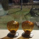 Vintage Oneida's Community Plate, Silver Base Amber Glass  Flower design Salt and pepper Shakers