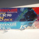 New Sealed Maxell UR 90, 15 Pack 90 Minute Blank Audio Cassette  Normal Bias