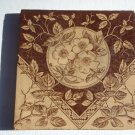 Antique  Victorian Era Ceramic Tile Brown Transfer on Cream May Roses