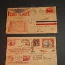 First Day Covers,(2) First Flight Air Mail & Transcontinental Cord Cup Air Derby