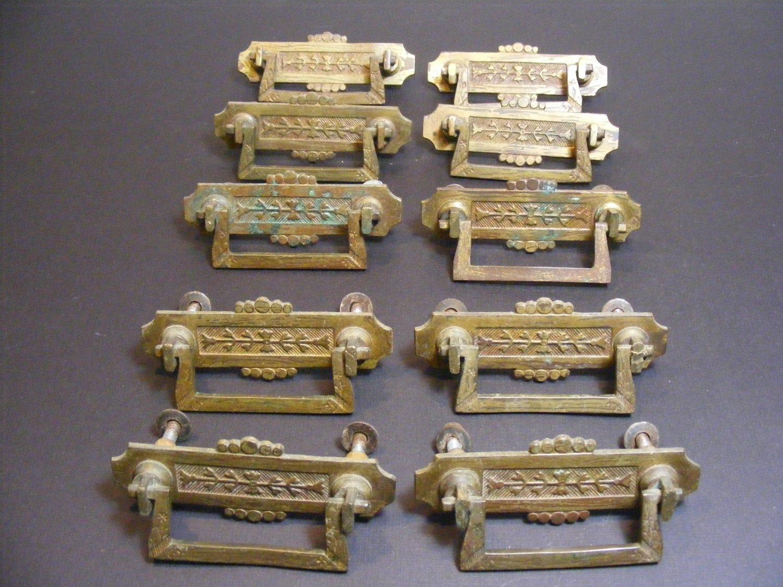 Lot of 10 Antique Eastlake Drawer Pulls Victorian Era  Stamped Brass