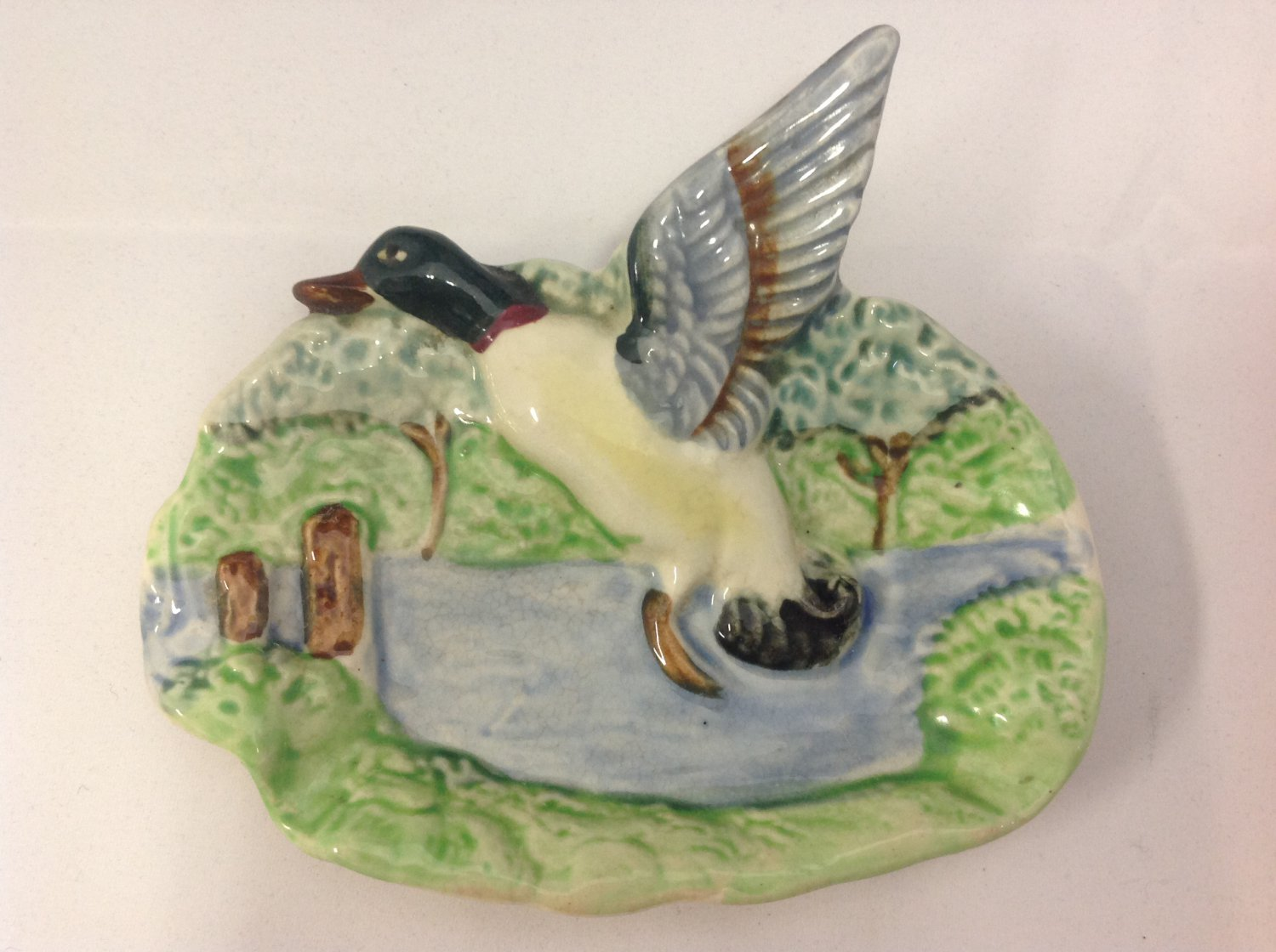 Vintage Mid Century Ceramic Mallard Duck Wall Plaque. 3d Flying Duck.