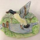 Vintage Mid Century Ceramic Mallard Duck Wall Plaque. 3d Flying Duck.