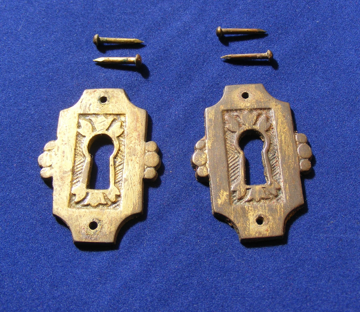 Antique Eastlake Drawer Keyhole Escutcheons  Victorian Era  Stamped Brass (2)