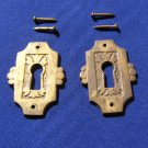 Antique Eastlake Drawer Keyhole Escutcheons  Victorian Era  Stamped Brass (2)