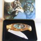 """Collectors """"Wolves"""" Folding Pocket Knife, New in collectors Tin."""