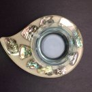 Vintage Abalone Shells in clear Lucite,Teardrop shaped Ashtray, Handcrafted, Wondermold, Ind,