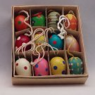 Vintage Set of 12 Miniature Hand Painted Wood Eggs, Vintage Wooden Easter Egg Ornaments