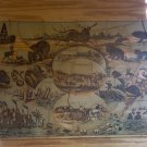 Antique Wooden Milton Bradlay, Jigsaw Puzzle, Map of U.S./American Scenery/Wildlife Litho.
