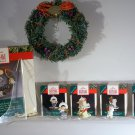 Hallmark 1990 Little FROSTY FRIENDS Collection WREATH & 4 mini ORNAMENTS & Stand