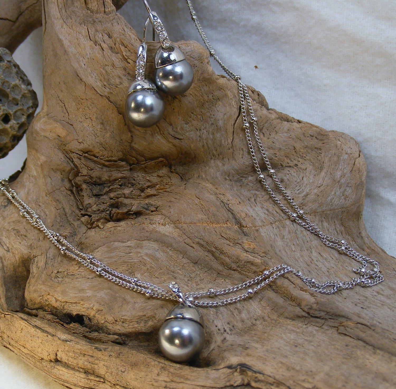 Avon Pearlesque Pendant Necklace/Earrings Set, Silvertone Faux Pearl