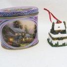 "Thomas Kinkade ""Stonehearth Cottage"" #2 Hinged Trinket Box Ornament."