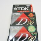 TDK D90 High Output Normal Bias IEC I/Type I, Sealed 2-pack Audio Cassettes NEW