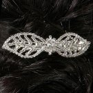 Double Leaf Rhinestone Barrette