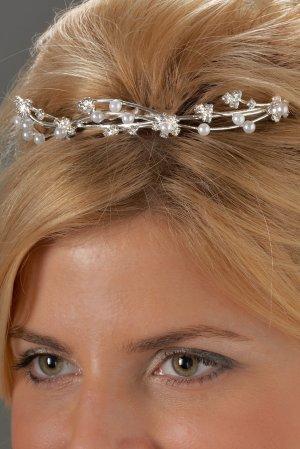 Pearl and Rhinestone Flowered Tiara Comb