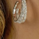 Twisted Hoop Rhinestone Earrings