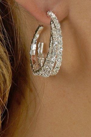 Twisted Hoop Rhinestone Earrings