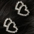 Double Heart Rhinestone Barrettes