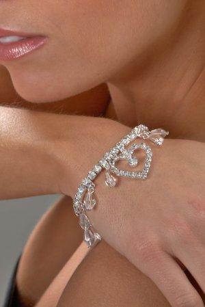 Beaded Heart Rhinestone Bracelet