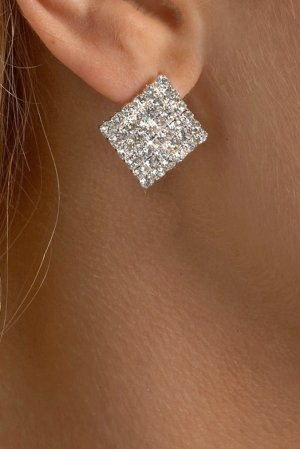 Small Square Rhinestone Earrings