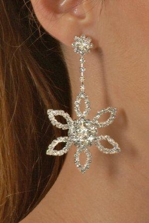 Large Flower Rhinestone Earrings