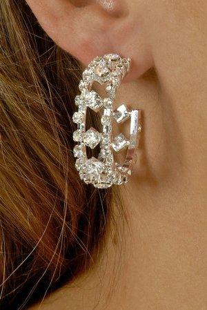 Fancy Double Row Rhinestone Earrings
