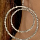 Clear Double Hoop Rhinestone Earrings