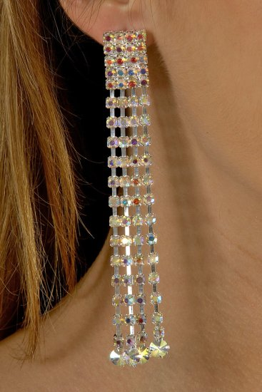 4-Row AB Rhinestone Earrings