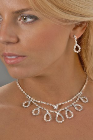 2-Row Looped Rhinestone Necklace Set
