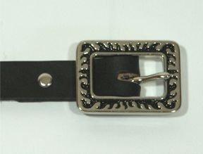 "Black Dress Belt with Flames Buckle - Size L (18""-22"")"