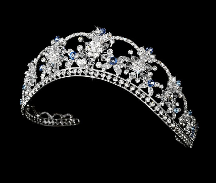 Light Blue Quinceanera, Mis Quince Anos or Prom Tiara with Swarovski Crystals and Rhinestones