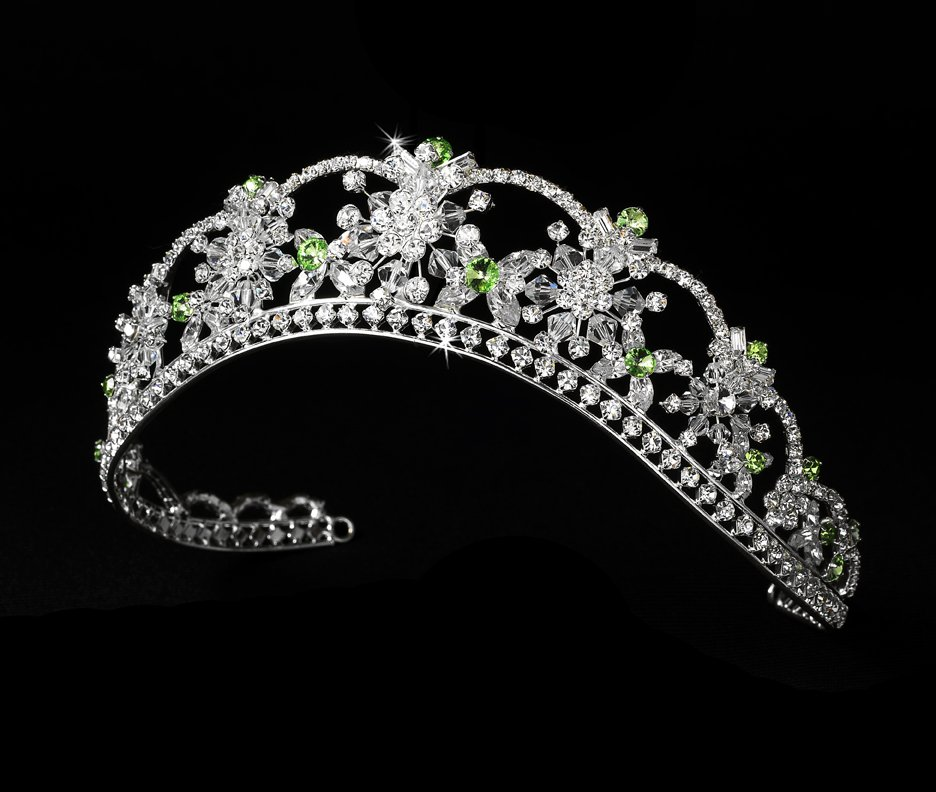 Quinceanera, Mis Quince Anos or Prom Tiara with Green Swarovski Crystals and Rhinestones