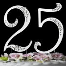 Silver Plated Crystal 25th Anniversary Cake Topper