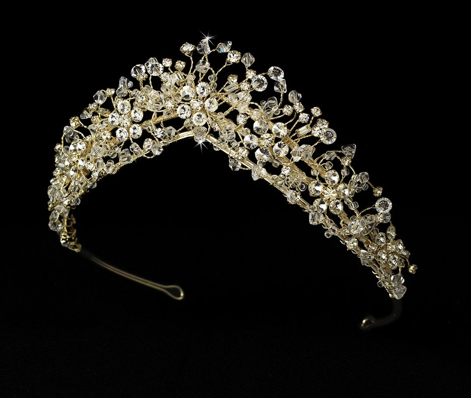 Swarovski Crystal Headpiece Quinceanera or Mis Quince Anos Tiara in Gold
