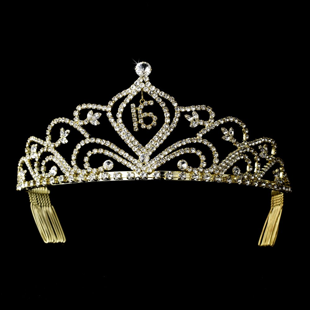 Gold Sweet 16 Tiara with Clear Crystals