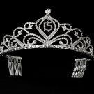 Silver Mis Quince Anos Quinceanera Tiara with Clear Crystals
