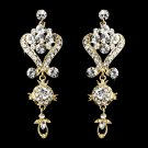 Gold Crystal Chandelier Earrings for Quinceanera or Prom