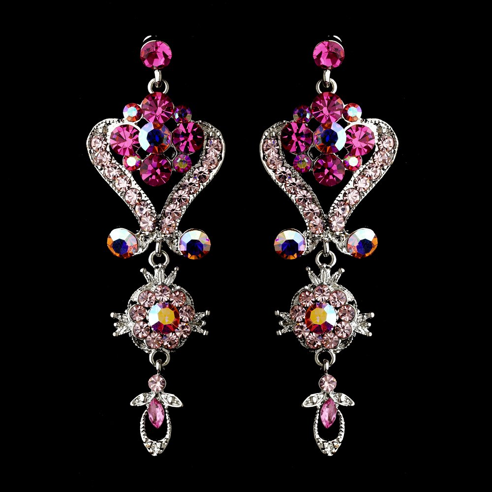 6 Pair Pink Crystal Chandelier Earrings for Quinceanera or Mis Quince Anos Court