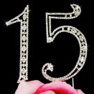 Silver Plated 15 Fifteenth Anniversary Crystal Cake Topper