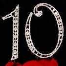 Silver Plated 10 Tenth Anniversary Crystal Cake Topper