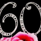 Silver Plated 60 Sixtieth Anniversary Crystal Cake Topper