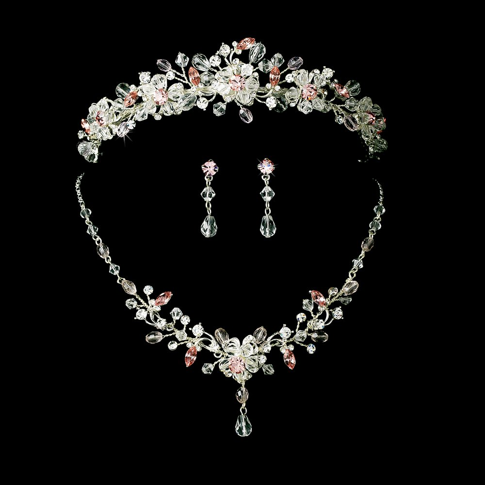 quinceanera earrings pink tiara plus jewelry set for mis quince anos 9325